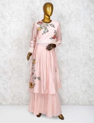Pretty peach cotton silk punjabi palazzo suit]